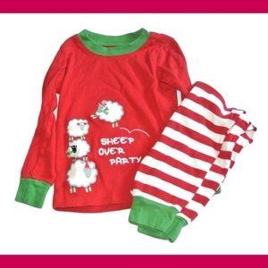 Gymboree PJ Girls Long Sleeve Pajamas Sheep Red 4
